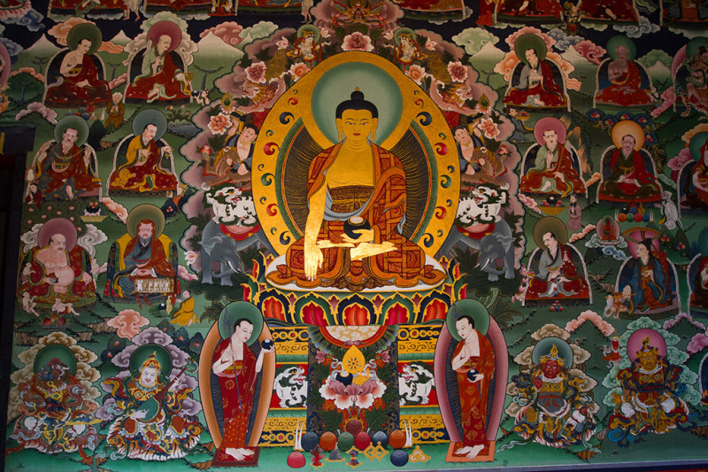 Wall painting of Buddha with the 16 Arhats